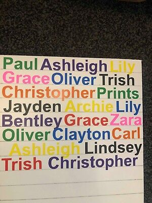 25mm personalised name tags, any text, different colours, id tag, stickers,vinyl