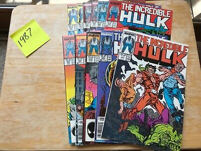 Marvel Lot THE INCREDIBLE HULK 1987  #330 THRU 338 MISSING 337 TWO OF 334 & 336