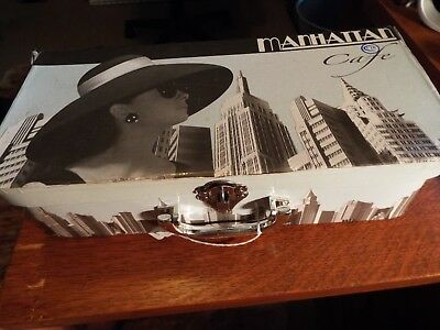 PAUL CARDEW MANHATTAN CAFE SET OF 2 TEA CUPS 2 SPOONS/W/Box NEVER USED