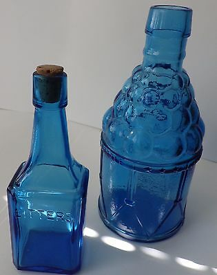 2 Wheaton Blue Bitters Bottles, Peacock, 1 McGivers American Army, 1 Small
