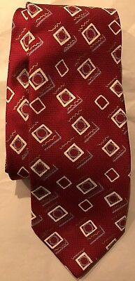 Brioni Italy Red Geometric 100% Silk Satin Dress Tie