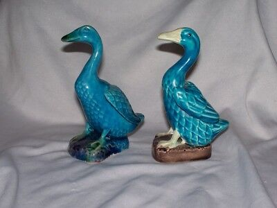 Pair of Chinese Export Pottery Figurine Of a Sea Bird Goose Duck Blue Glaze NR