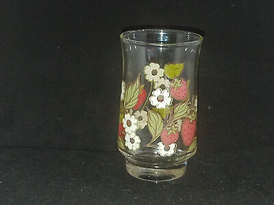 1 Strawberry Blossom Anchor Hocking Triguba Juice SIze Glass 4""