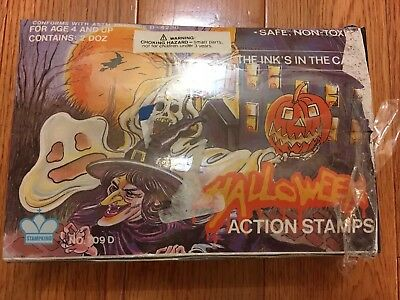 Vintage Stampking Halloween Action Rubber Stamps Complete Self Inking Box (24)