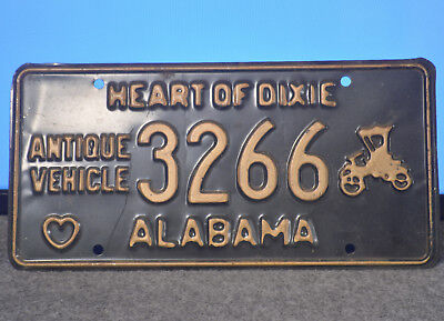Alabama Antique Vehicle Heart of Dixie License Plate