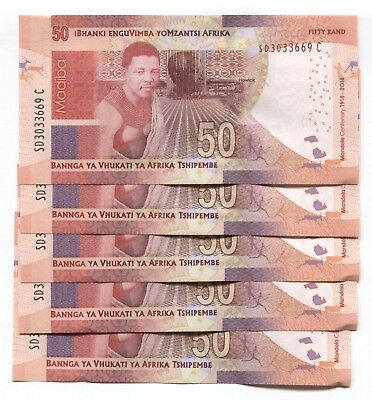 South Africa 50 Rands Nd(2018) P-New Unc Commemorative Mandela Lot 5 Pcs