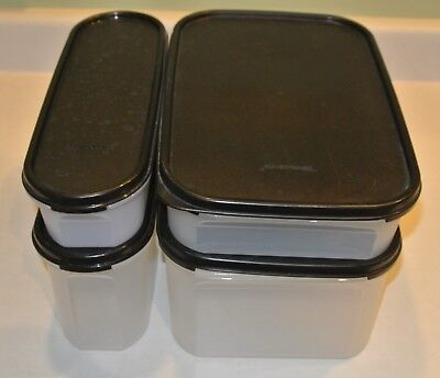 Tupperware Modular Mates 2 Rectangle 2 Super Ovals Containers Black Seals Clear