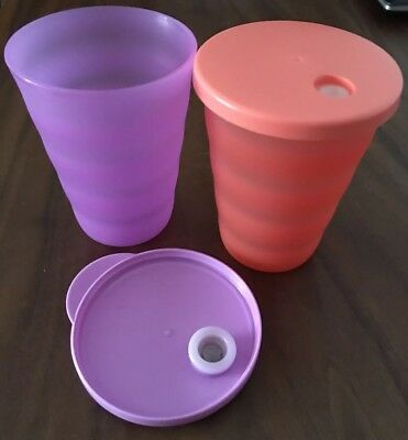 TUPPERWARE ALFRESCO  TUMBLERS CUPS SET Of 2 WITH DRIPLESS SEALS 330 mls