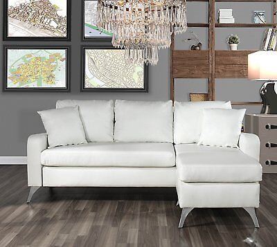 Awesome Bonded Leather Sectional Sofa Small Space Couch W Matching Pillows 2 White Home Remodeling Inspirations Genioncuboardxyz
