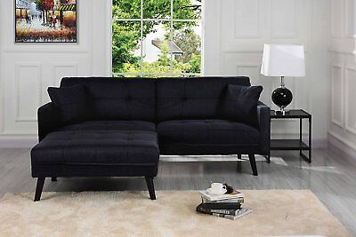 Mid-Century Modern Linen Futon Sofa Bed, Living Room Sleeper Sofabed, Black