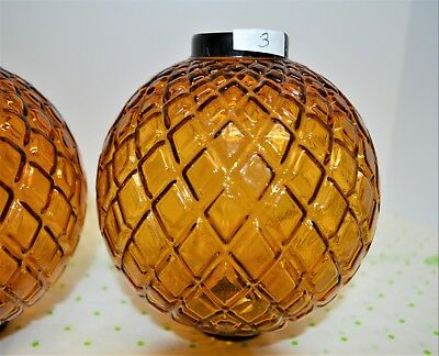 """Vintage 5""""W x 5.5""""H Flat Quilted Amber Glass Lightning Rod Weather Vane Ball"""