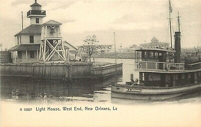 c1905 Nice Lithograph Postcard; Light House, West End. New Orleans LA unposted