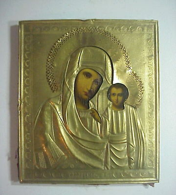 Antique HAND PAINTED RUSSIAN GREEK ICON OUR LADY OF KAZAN 1800'S