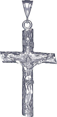 """Large Sterling Silver Crucifix Cross with Jesus Pendant Necklace 3.2"""" 15 Grams"""