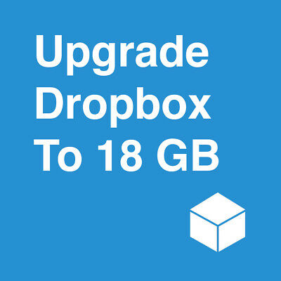 Upgrade Dropbox Permanent Storage to 18GB