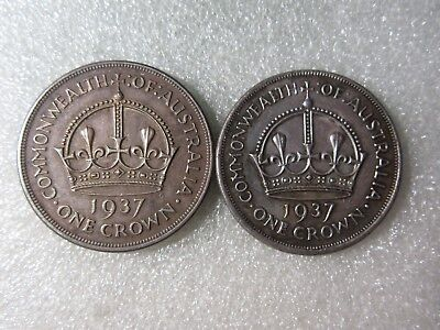 1937   CROWNS   2   COINS   92% silver