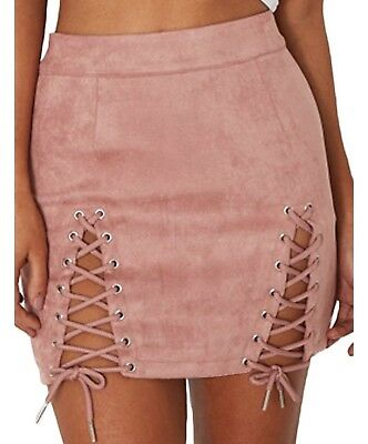 a35f31c1e Meyeeka Womens Sexy High Waist Lace up Bodycon Faux Suede Split Tight Mini  Skirt