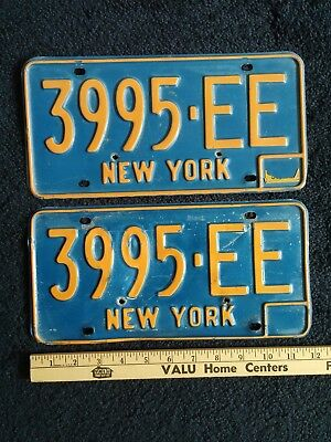 Vtg New York Blue License Plates Lot 2, 3995-EE Automobile Car NY State Tag