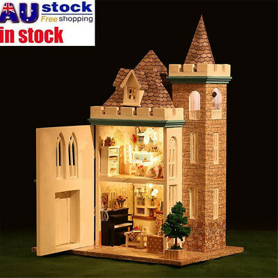 AU Wooden Moonlight Castle Doll House Miniature Kit Dollhouse LED Lamp Xmas Gift