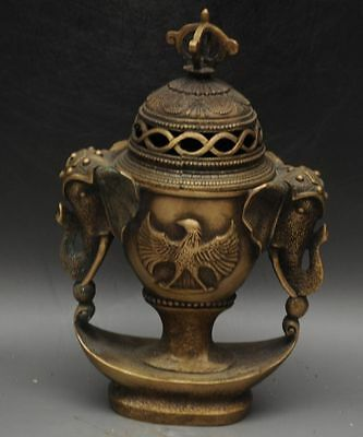 Marked Old China brass Dynasty Elephant Handle Eagle Incense Burner Censer f02