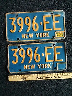 Vtg New York Blue 1973 73 License Plates Lot 2, 3996-EE Auto Car NY State Tag