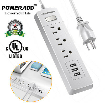 5ft 3 USB Charging Port 3 Outlet Power Strip w/Surge Protector Lightningproof US