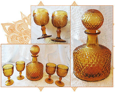 Retro Vintage Glass Decanter With Stopper & 4 Amber Glass Goblets Wine Glasses