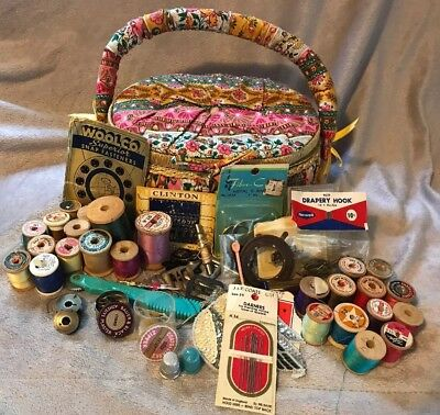 Vintage JUNK DRAWER LOT Misc Sewing Wooden Spools Thread Sewing Box Items Dritz