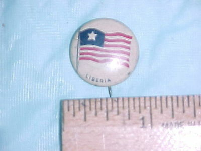 Pin back Button with flag of Liberia, Greenduck Co, Chicago PAT. Feb 13, 1917