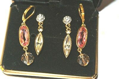 Stunning Swan Signed Swavorski Crystal Pierced Earrings Pink & Clear 2 Pair Nice