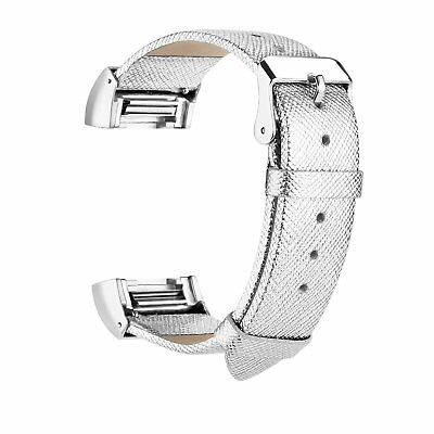 Watch Band Leather Replacement Sport Wristband Silve + Metal for Fitbit Charge 2