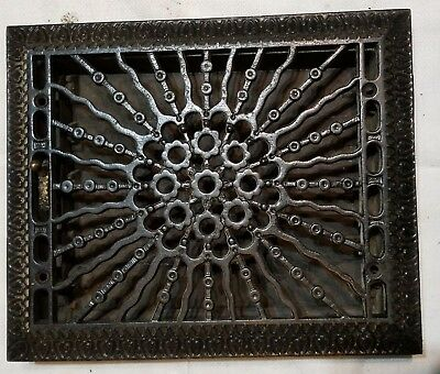 Antique 19th century Ornate Heat Register Cast Iron Wall Floor Grate Heat Vent=