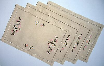 Set of 4 Linen Cotton Hand Embroidered Table Place Mats Placemats Napkins Flower