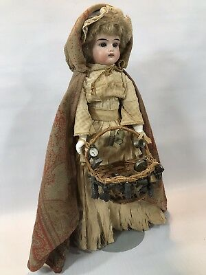 Old Bisque Head Germany Peddler Doll with Basket of Miniature Goodies to Sell!