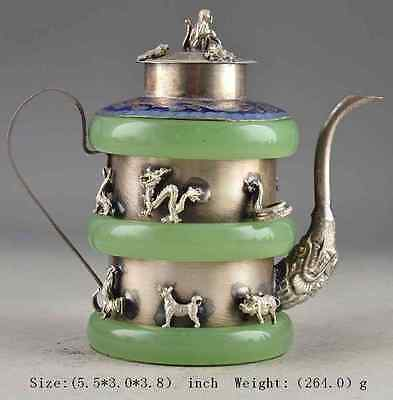 China Superb Jade Old Handwork Armored Zodiac Collectible Teapot b01