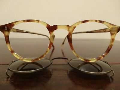 Ultra RARE VINTAGE Oliver Peoples O'Malley code 404 45mm Frames + Clip on Shades