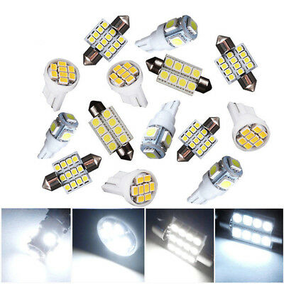 14Pcs White Cars LED Interior Package Kits For T10 Map Dome License Plate Light