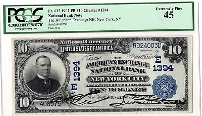 1902 $10 New York City,New York.FR-625  PCGS-45