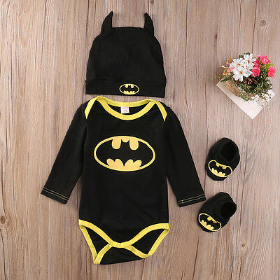 Newborn Toddler Boy Clothes Baby Infant Batman Romper Jumpsuit Hat Shoes 3Pc Set