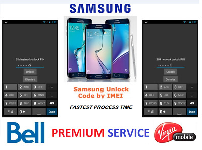 Bell /Virgin Premium service unlock Code for All Samsung Models ALL SERIES