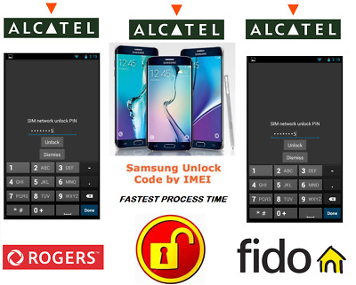 Rogers / Fido Unlock Code For Alcatel Phone Any Canadian Model