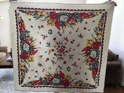 VINTAGE FALL SCENE SQUARE TABLECLOTH IN GREAT VINTAGE CONDITION 52 x 48""