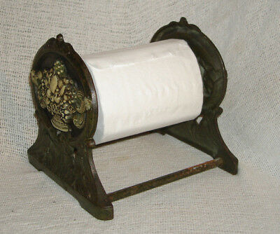 Antique Victorian Ornate Cast Iron Counter top Toilet Paper Holder