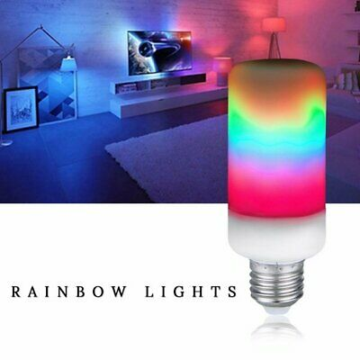 Rainbow LED Flame Effect Fire Light Bulbs Burning Flicker Lamp 3528 SMD Lights