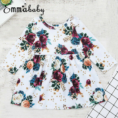 USA Toddler Kids Baby Girls Princess Flowers Dress Pageant Party Wedding Dresses