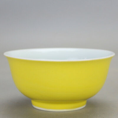 Chinese old hand-carved porcelain celeste yellow glaze bowl b02