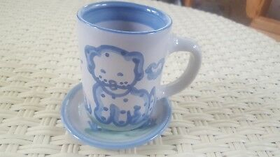 M Hadley POTTERY Dog Puppy CUP Mug Saucer PERFECT