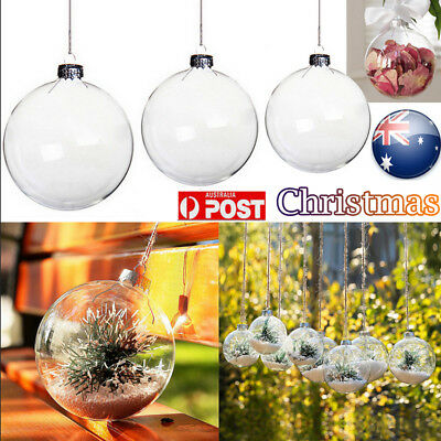 10pcs Plastic Hanging Ball Clear Baubles Christmas DIY Home Decor Party Ornament