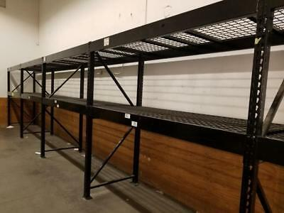 Commercial-Grade Black Steel Pallet Rack System w/ High-Weight Capacity Rating