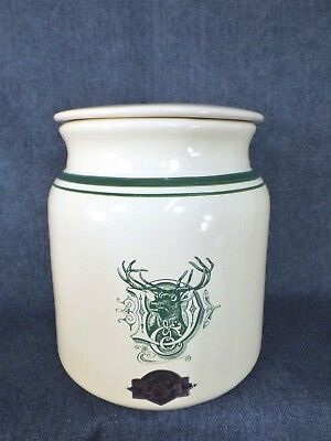 John Deere Stoneware Cookie Jar - Never Used - Old Deer In D Logo